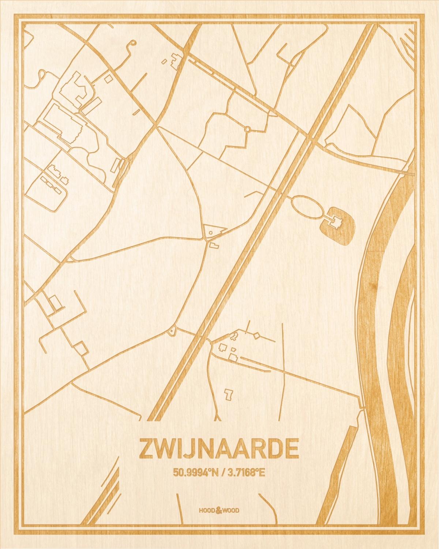 Het wegennet van de plattegrond Zwijnaarde gegraveerd in hout. Het resultaat is een prachtige houten kaart van een van de leukste plekken uit Oost-Vlaanderen  voor aan je muur als decoratie.