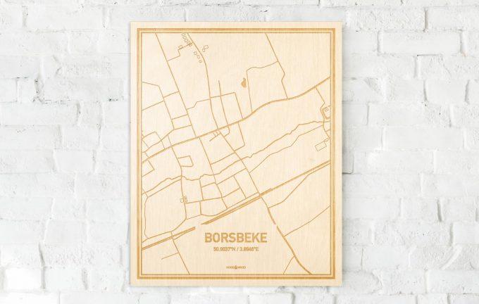 De kaart Borsbeke aan een witte bakstenen muur. Prachtige persoonlijke muurdecoratie. Lasers graveren Borsbeke haar straten, buurten en huizen waardoor een schitterende plaats in Oost-Vlaanderen  mooi in kaart gebracht wordt.