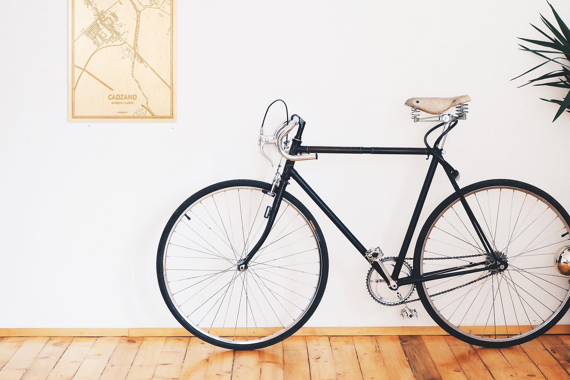 Een snelle fiets in een uniek interieur in Zeeland met mooie decoratie zoals de plattegrond Cadzand.