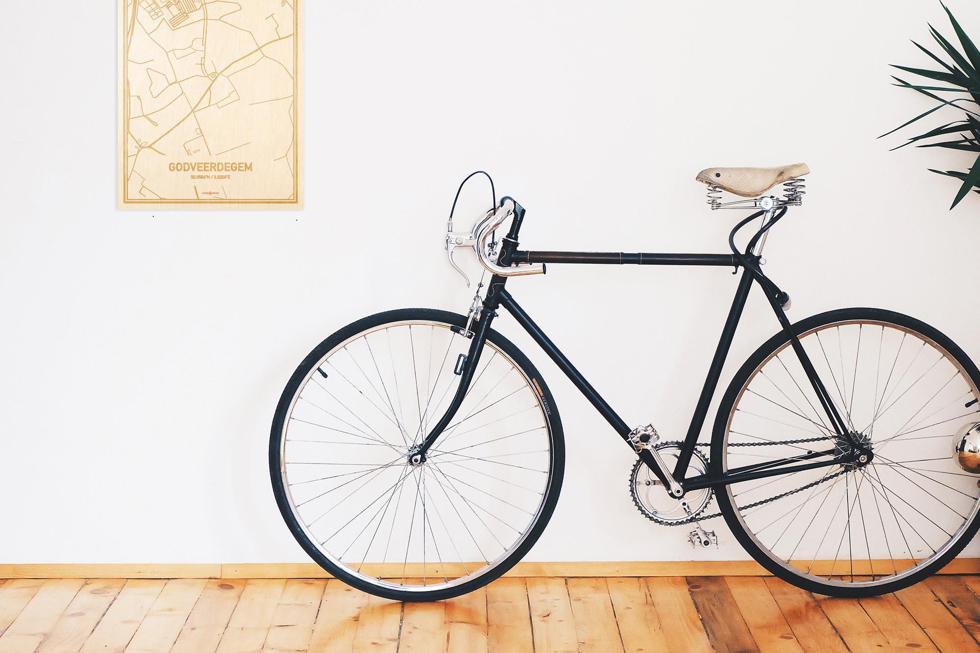 Een snelle fiets in een uniek interieur in Oost-Vlaanderen  met mooie decoratie zoals de plattegrond Godveerdegem.