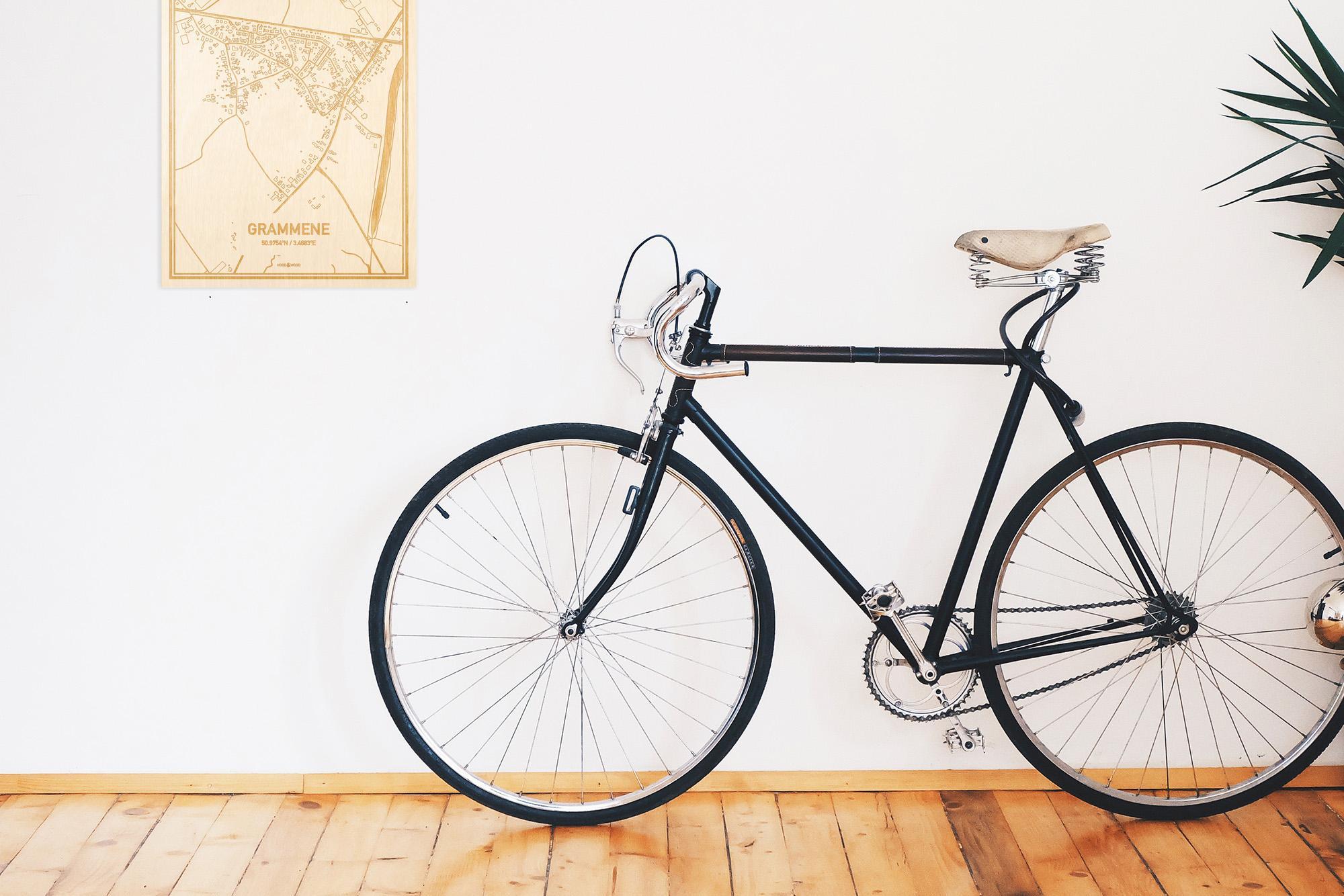 Een snelle fiets in een uniek interieur in Oost-Vlaanderen  met mooie decoratie zoals de plattegrond Grammene.