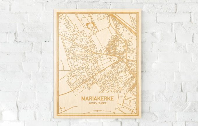 De kaart Mariakerke aan een witte bakstenen muur. Prachtige persoonlijke muurdecoratie. Lasers graveren Mariakerke haar straten, buurten en huizen waardoor een bijzondere plaats in Oost-Vlaanderen  mooi in kaart gebracht wordt.
