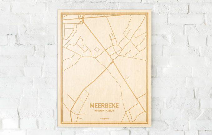 De kaart Meerbeke aan een witte bakstenen muur. Prachtige persoonlijke muurdecoratie. Lasers graveren Meerbeke haar straten, buurten en huizen waardoor een schitterende plaats in Oost-Vlaanderen  mooi in kaart gebracht wordt.