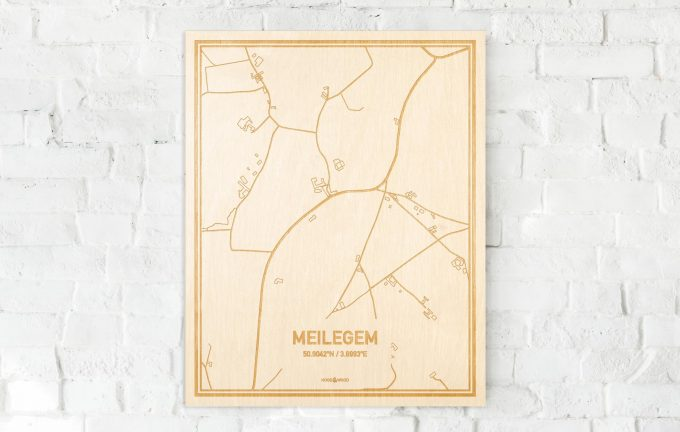 De kaart Meilegem aan een witte bakstenen muur. Prachtige persoonlijke muurdecoratie. Lasers graveren Meilegem haar straten, buurten en huizen waardoor een verrassende plaats in Oost-Vlaanderen  mooi in kaart gebracht wordt.
