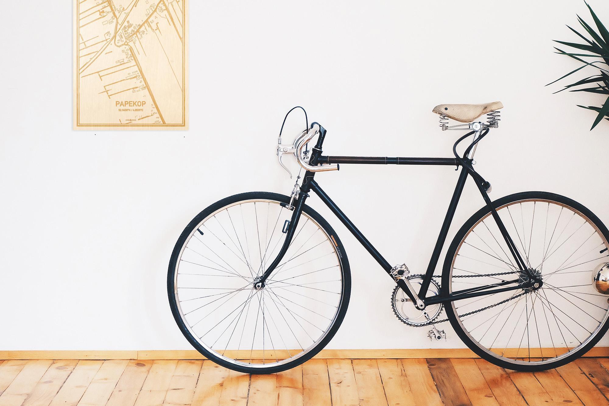 Een snelle fiets in een uniek interieur in Utrecht met mooie decoratie zoals de plattegrond Papekop.