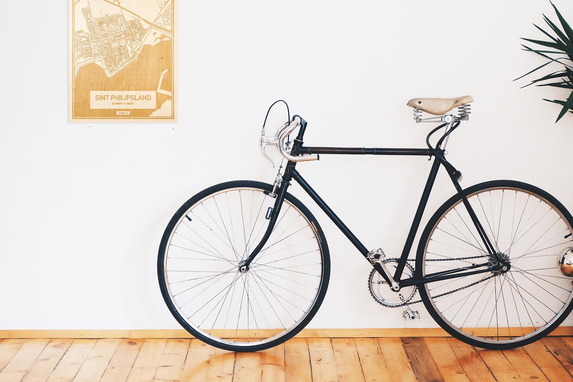 Een snelle fiets in een uniek interieur in Zeeland met mooie decoratie zoals de plattegrond Sint Philipsland.