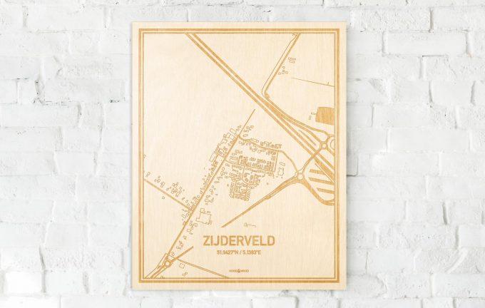 De kaart Zijderveld aan een witte bakstenen muur. Prachtige persoonlijke muurdecoratie. Lasers graveren Zijderveld haar straten, buurten en huizen waardoor een schitterende plaats in Utrecht mooi in kaart gebracht wordt.